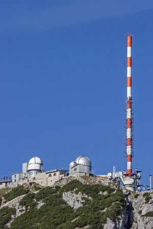 On the Wendelstein summit the mountain idyll suffers under the all-dominant infrastructure buildings.