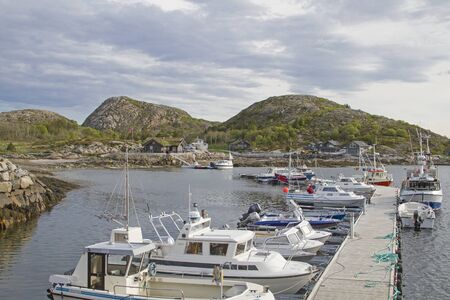 The small fishing port of Tjoernsoy on the Norwegian island of Ytre-Vikna Banco de Imagens