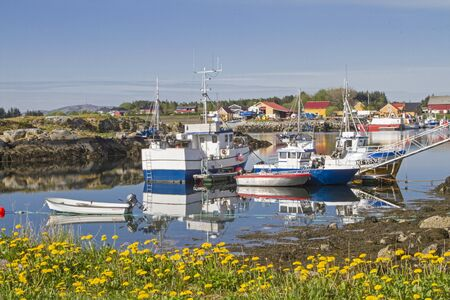The small fishing port of Lauvoyvagen on the Norwegian island Lauvoy