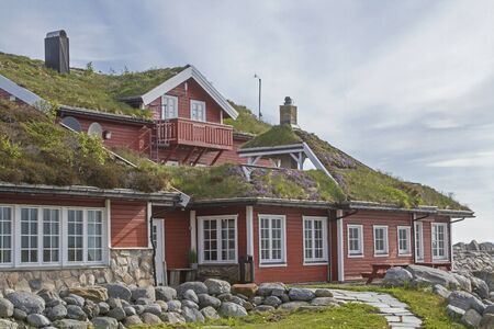 New and modern buildings are still being built in traditional Norwegian style Banco de Imagens