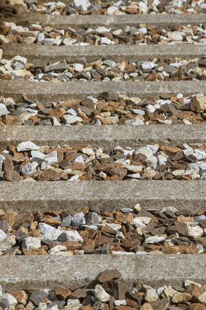 Railway sleepers and track ballast - detailed view of the Norwegian Rauma Railway