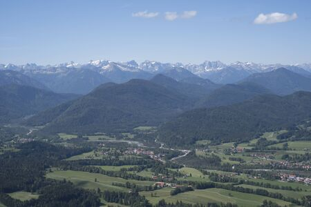 View of the southern Isarwinkel - in the background Karwendel Mountains