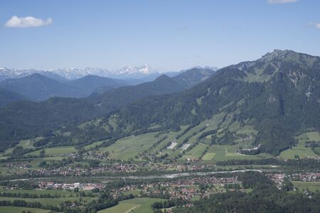 View of the southern Isarwinkel - Brauneck and Wetterstein Mountains in the background