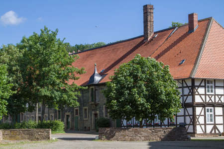 Idyllic half-timbered building in the Wöltingerode monastery in the Goslar district in Lower Saxony