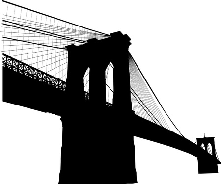 steel bridge: Silhouette of the Brooklyn bridge in New York  Illustration