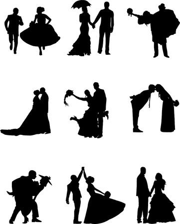 just married: Ilustración de un novio y la novia de un niño de nueve diferentes poses