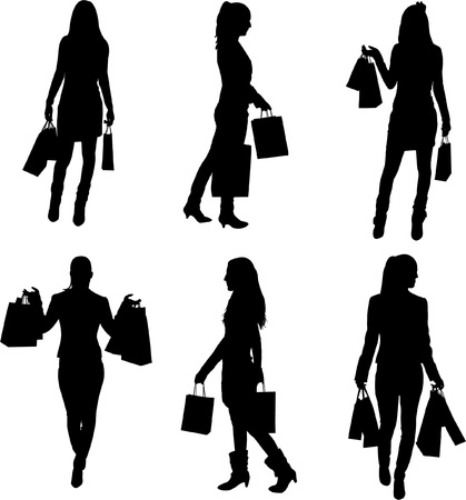 A collection of silhouettes of women shopping  Vector