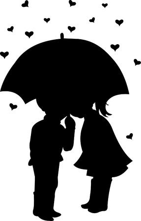 silhouettes lovers: Niño y niña bajo el paraguas de corazones formas de fondo de lluvias para la silueta de Día de San Valentín Vectores