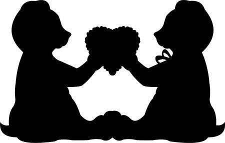 Valentine loving couple Teddy bears with hearts silhouette for 14 February, Valentine Vector