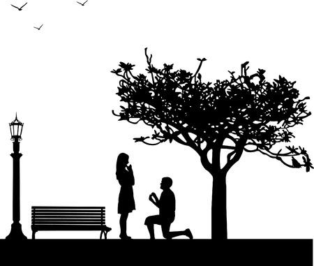 verlobt: Romantische Vorschlag im Park unter dem Baum am Valentinstag