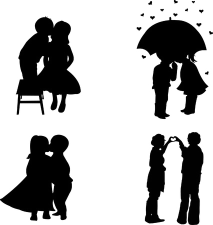 Set lovers boys and girls for Valentine Vector