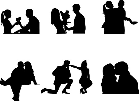 marriage proposal: Valentine couple in different pose silhouette Illustration