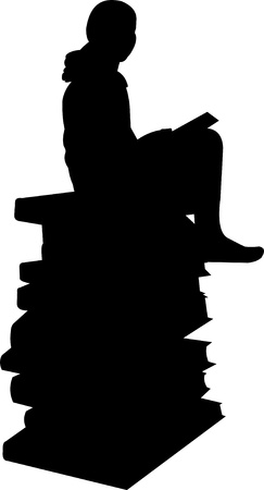 Schoolgirl sitting on a stack of books and learning silhouette