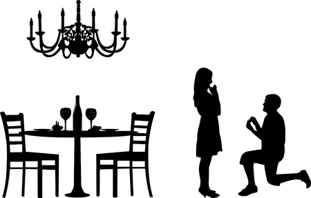 Romantic proposal in a restaurant on Valentines day of a man proposing to a woman while standing on one knee silhouettes, one in the series of similar images Vector