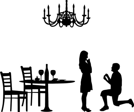 wedding table decor: Romantic proposal in a restaurant on Valentines day of a man proposing to a woman while standing on one knee silhouettes, one in the series of similar images Illustration