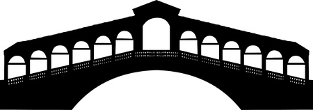 Rialto bridge in Grand canal in Venice, Italy silhouette Vector