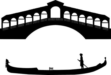Silhouette of a Venetian gondola and the Rialto bridge in Italy