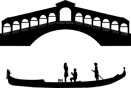 Romantic proposal in a Venetian gondola front of the Rialto bridge in Italy on Valentines day of a man proposing to a woman while standing on one knee silhouettes  Vector