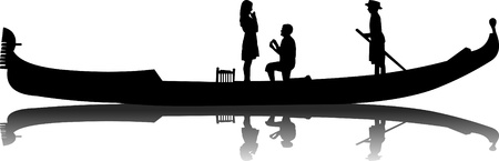 Romantic proposal in a Venetian gondola on Valentines day of a man proposing to a woman while standing on one knee silhouettes  Vector