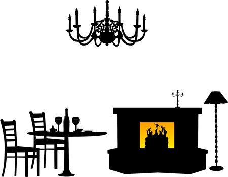 Dining area, furniture interior design silhouette Vector