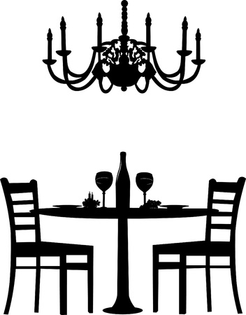 chandelier isolated: Romantic dinner for two with table and two chairs, candle decoration and bottle of wine and old antique chandelier, silhouette isolated on white background