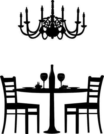 Romantisch diner voor twee met tafel en twee stoelen, kaars decoratie en een fles wijn en oude antieke kroonluchter, silhouet op een witte achtergrond