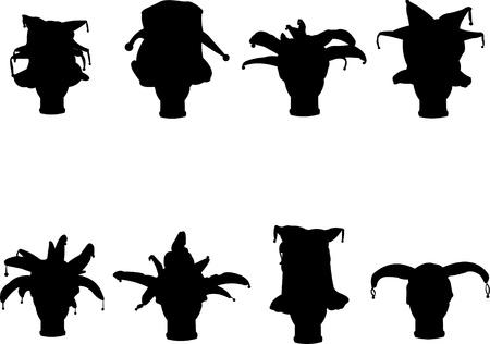 tonto: Silueta detallada de una colección de tapas de carnaval