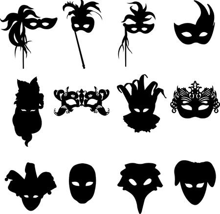 mascaras de carnaval: Colección de carnaval veneciano máscaras de fondo la silueta