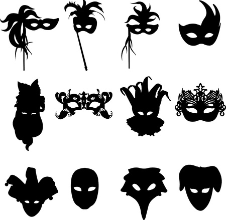 Collection of carnival Venetian masks background silhouette Illustration