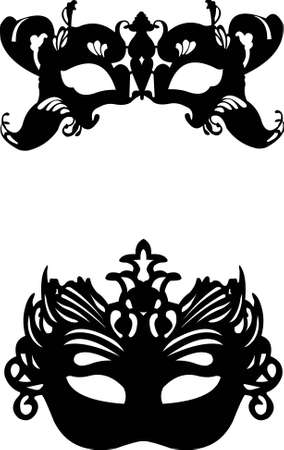 Collection of  two different carnival Venetian masks background silhouette Illustration
