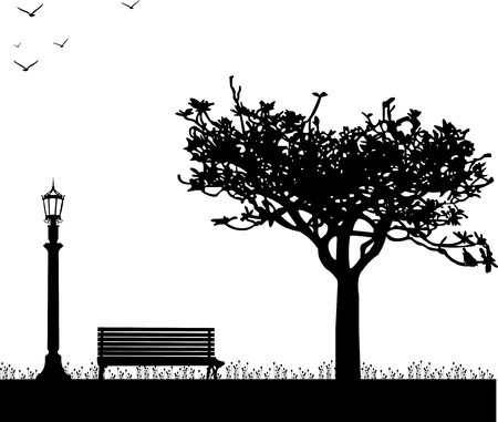 Spring in park with tulips, streetlight, bench, tree and bird one in the series of similar images silhouette Vector