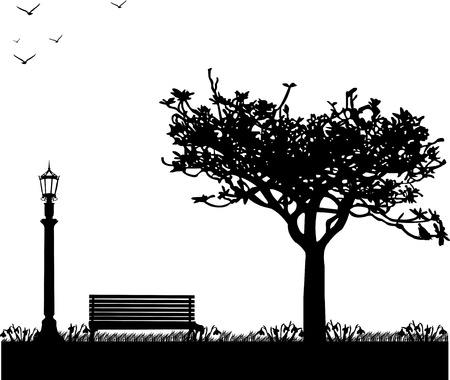 streetlight: Spring in park, first spring flower -snowdrop one in the series of similar images silhouette Illustration