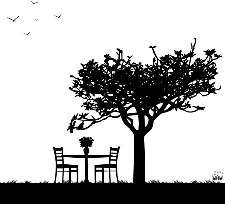 garden landscape:  Park in spring with table for two and roses in a vase under a tree silhouette Illustration