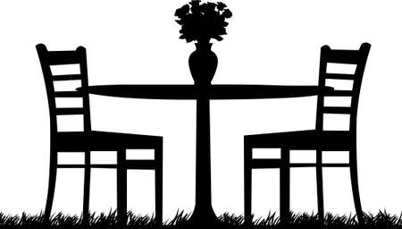 garden chair: Romantic table for two with roses in a vase one in the series of similar images silhouette Illustration