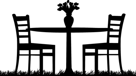 Romantic table for two with tulips in a vase one in the series of similar images  silhouette Vector