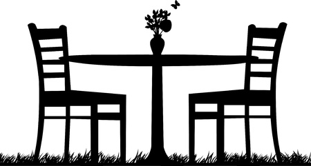 Table for two in garden with bouquet of violets in the vase as the first spring flower and butterfly one in the series of similar images silhouette Vector