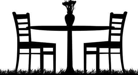 garden chair: Table for two in garden with bouquet of saffrons in the vase as the first spring flower one in the series of similar images silhouette Illustration