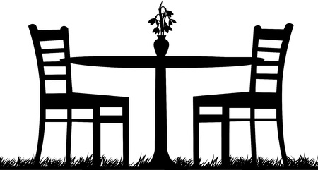 garden chair: Table for two in garden with bouquet of snowdrops in the vase as the first spring flower one in the series of similar images silhouette Illustration