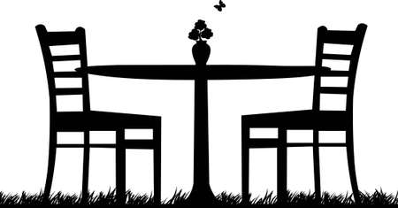 Table for two in garden with bouquet of pansies in the vase as the first spring flower and butterfly one in the series of similar images silhouette Vector