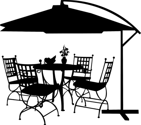 sitting at table: Garden furniture with bowl of fruit, bouquet snowdrops  in vase and parasol silhouette