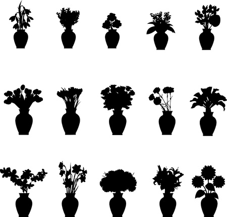flowers in vase: Bouquet different flowers in vase collection silhouettes isolated on white background