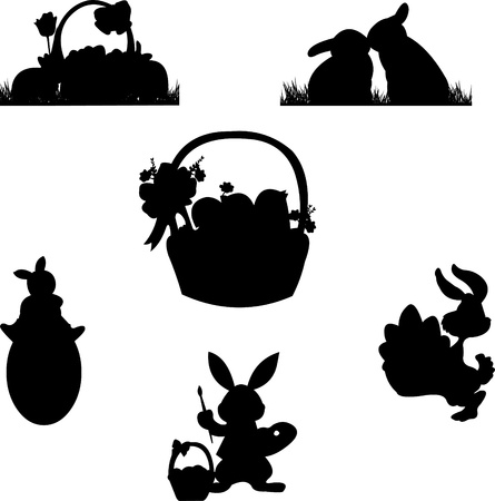 silhouette lapin: Scène de Pâques avec des éléments tels que des oeufs, des fleurs de printemps, les lapins, de poulets et un panier avec des oeufs de pâques silhouette Illustration