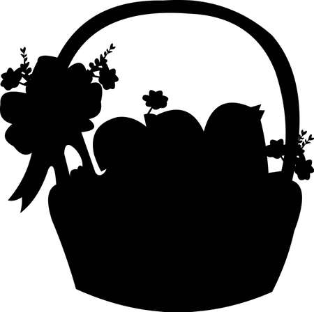 Three little chicken with easter eggs in the basket - vector silhouette Vector