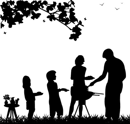 Family barbecue and picnic in the garden with table with bouquet violets in vase and pitcher of lemonade and butterflies flying under a tree silhouette
