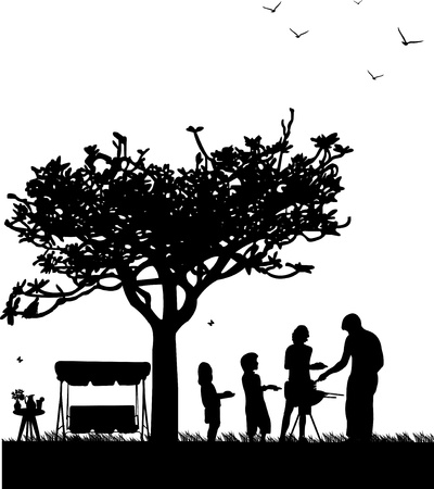 Family barbecue and picnic in the garden with garden swing, table with bouquet violets in vase and pitcher of lemonade and butterflies flying under a tree silhouette