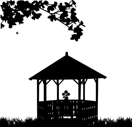 Summer house or arbor in garden with flower silhouette
