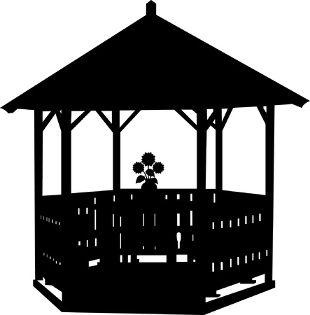 Summer house or arbor with flower silhouette Vector
