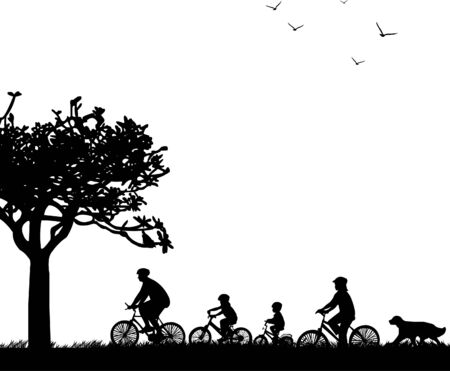 lifestyle family: Familia paseo en bicicleta en el parque de la silueta de la primavera Vectores