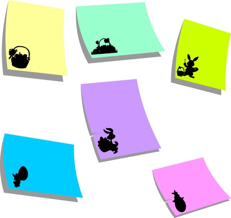 similar images: Sticky colorful memo note papers with  Easter symbols one in the series of similar images silhouette Illustration