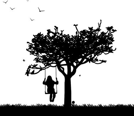 columpio: Ni�a en el columpio en el parque o un jard�n en la silueta de primavera